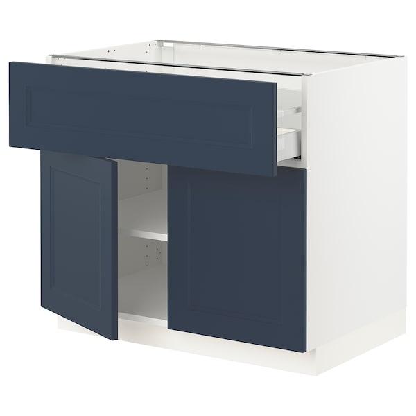 "SEKTION / MAXIMERA Base cabinet with drawer/2 doors, white Axstad/matte blue, 36x24x30 """