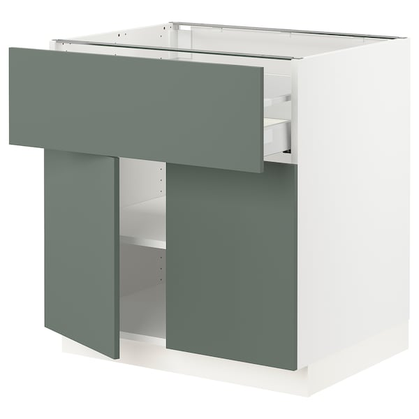 "SEKTION / MAXIMERA Base cabinet with drawer/2 doors, white/Bodarp gray-green, 30x24x30 """