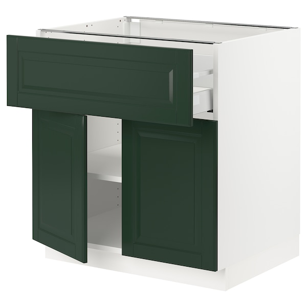 SEKTION / MAXIMERA Base cabinet with drawer/2 doors, white/Bodbyn dark green, 30x24x30 ""