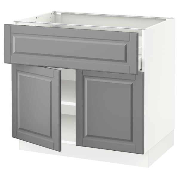 "SEKTION / MAXIMERA Base cabinet with drawer/2 doors, white/Bodbyn gray, 36x24x30 """