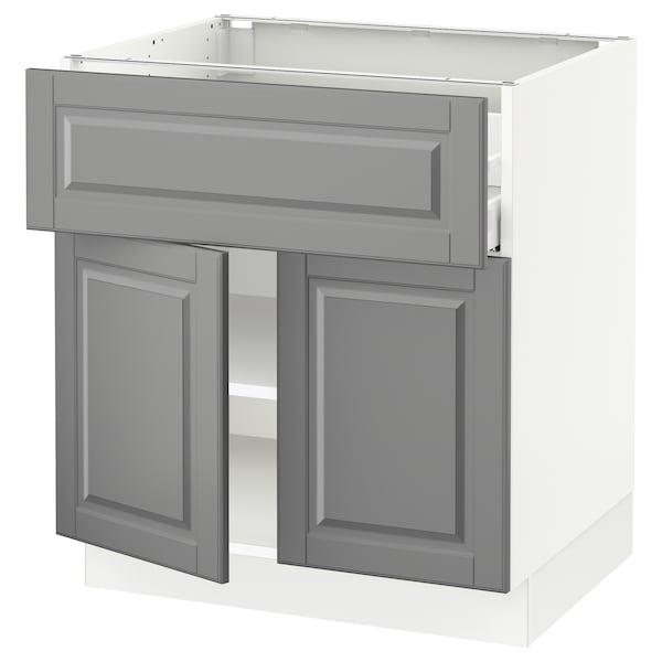 "SEKTION / MAXIMERA Base cabinet with drawer/2 doors, white/Bodbyn gray, 30x24x30 """
