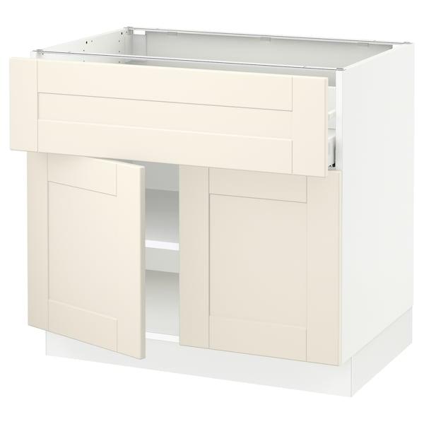 "SEKTION / MAXIMERA Base cabinet with drawer/2 doors, white/Grimslöv off-white, 36x24x30 """