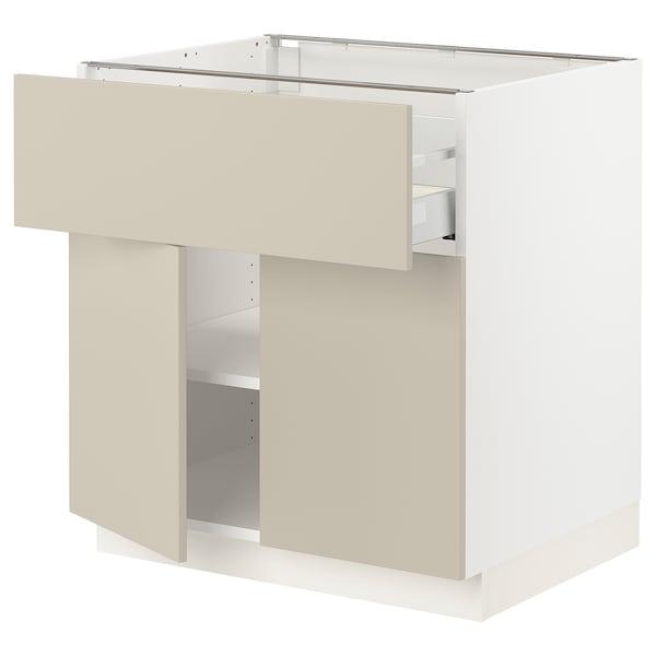 "SEKTION / MAXIMERA Base cabinet with drawer/2 doors, white/Havstorp beige, 30x24x30 """