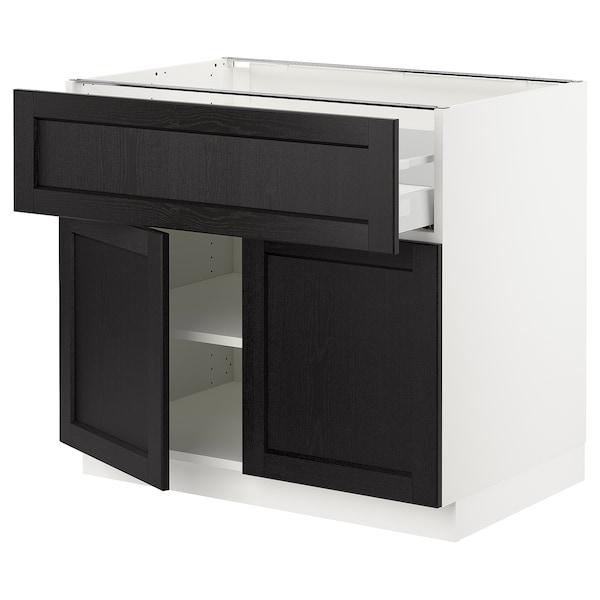"SEKTION / MAXIMERA Base cabinet with drawer/2 doors, white/Lerhyttan black stained, 36x24x30 """
