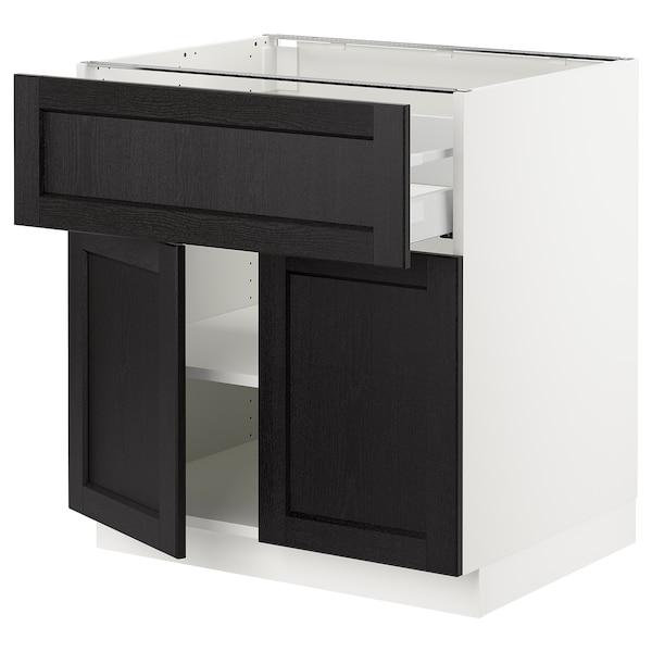 "SEKTION / MAXIMERA Base cabinet with drawer/2 doors, white/Lerhyttan black stained, 30x24x30 """