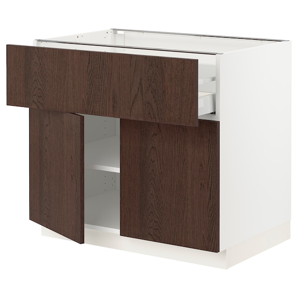 SEKTION / MAXIMERA Base cabinet with drawer/2 doors, white/Sinarp brown, 36x24x30 ""