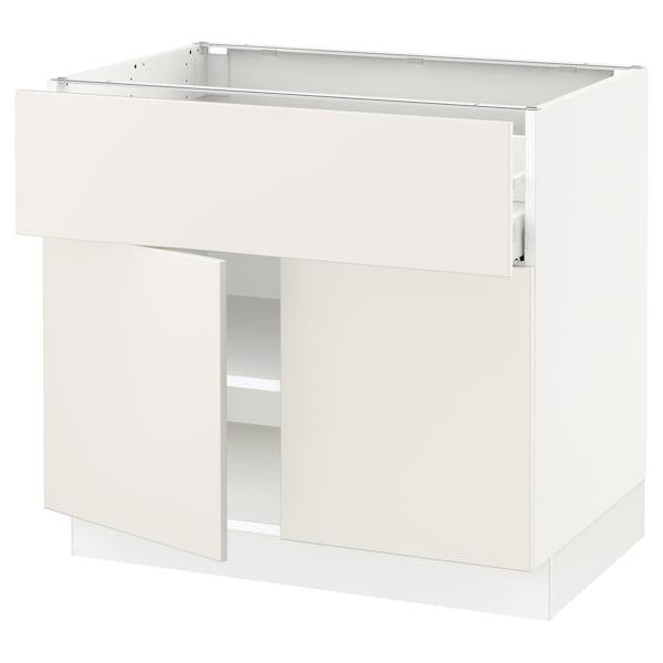 """SEKTION / MAXIMERA Base cabinet with drawer/2 doors, white/Veddinge white, 36x24x30 """""""