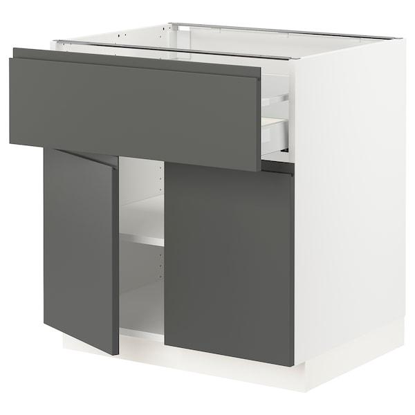 "SEKTION / MAXIMERA Base cabinet with drawer/2 doors, white/Voxtorp dark gray, 30x24x30 """