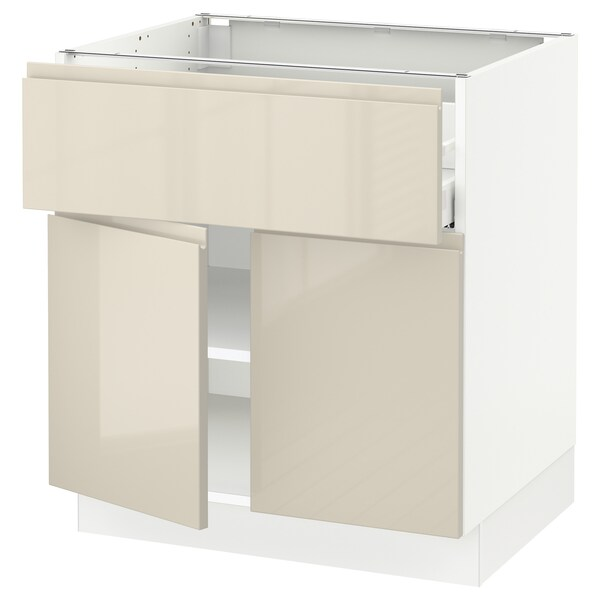 """SEKTION / MAXIMERA Base cabinet with drawer/2 doors, white/Voxtorp high-gloss light beige, 30x24x30 """""""