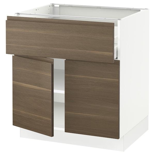 "SEKTION / MAXIMERA Base cabinet with drawer/2 doors, white/Voxtorp walnut effect, 30x24x30 """