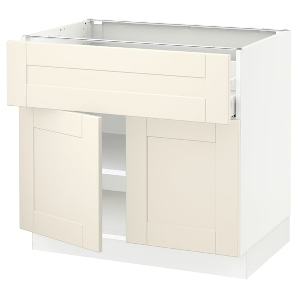 "SEKTION / MAXIMERA base cabinet with drawer/2 doors white/Grimslöv off-white 36 "" 24 "" 24 3/4 "" 30 """