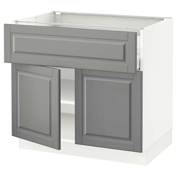 "SEKTION / MAXIMERA base cabinet with drawer/2 doors white/Bodbyn gray 36 "" 24 "" 24 3/4 "" 30 """