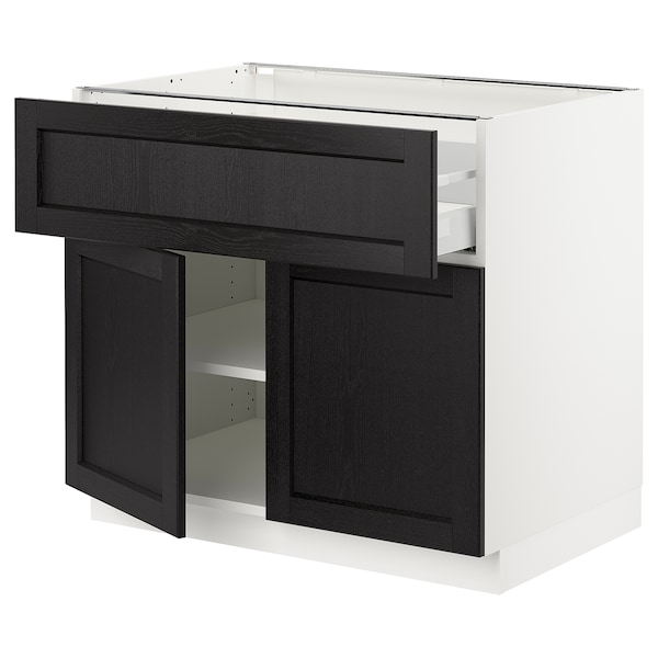 "SEKTION / MAXIMERA base cabinet with drawer/2 doors white/Lerhyttan black stained 36 "" 24 "" 24 3/4 "" 30 """