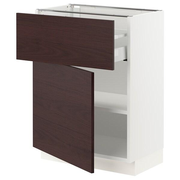 "SEKTION / MAXIMERA Base cabinet with drawer/door, white Askersund/dark brown ash effect, 24x15x30 """