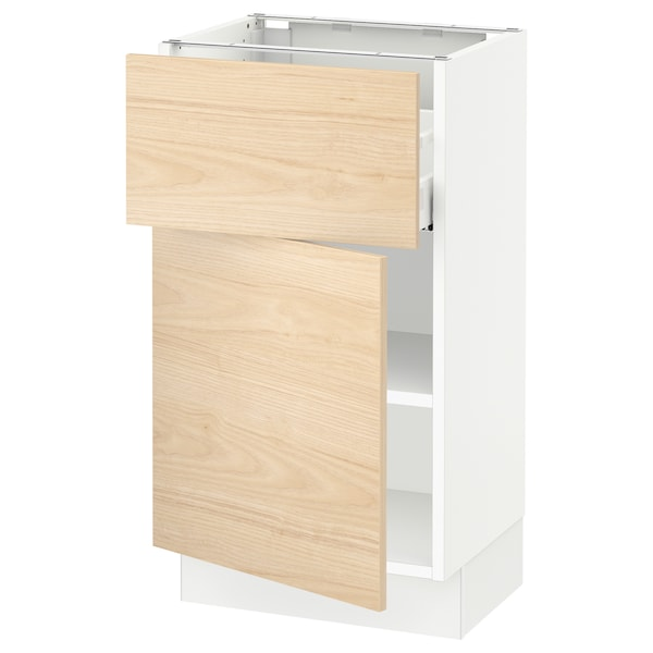 SEKTION / MAXIMERA Base cabinet with drawer/door, white/Askersund light ash effect, 18x15x30 ""