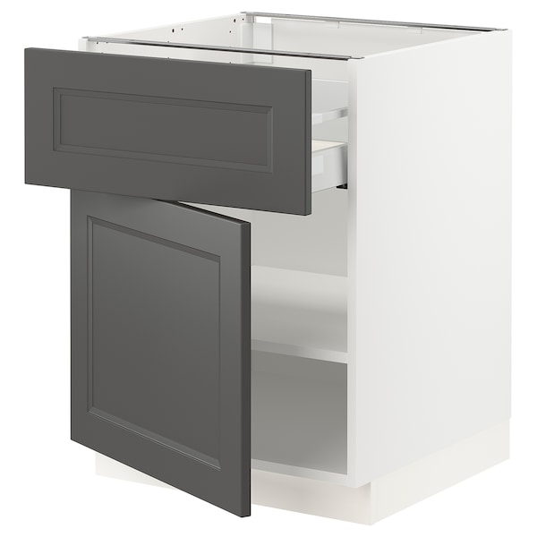 SEKTION / MAXIMERA Base cabinet with drawer/door, white/Axstad dark gray, 24x24x30 ""