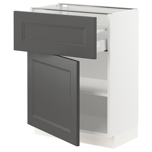 "SEKTION / MAXIMERA Base cabinet with drawer/door, white/Axstad dark gray, 24x15x30 """