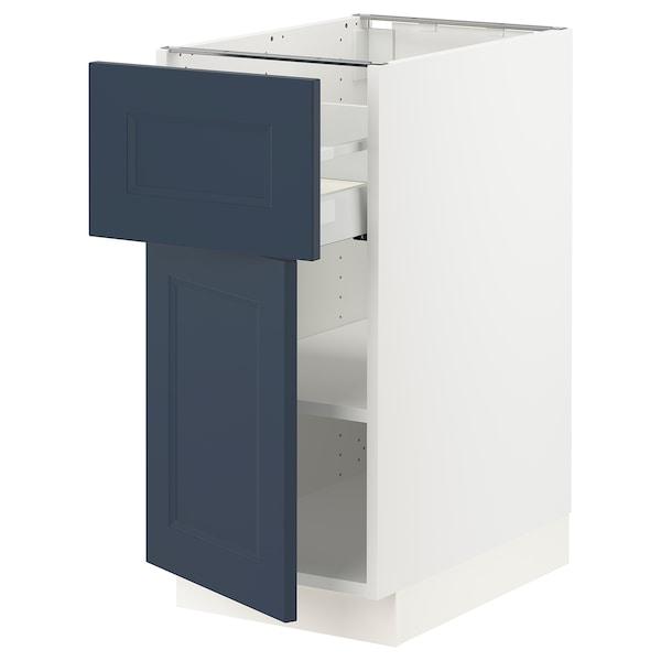"SEKTION / MAXIMERA Base cabinet with drawer/door, white Axstad/matte blue, 15x24x30 """