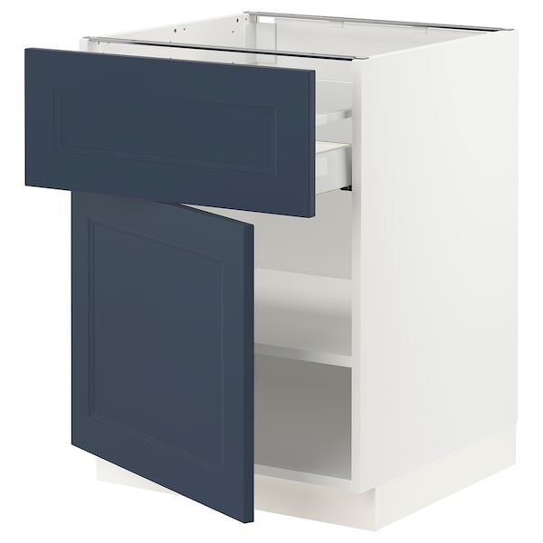 SEKTION / MAXIMERA Base cabinet with drawer/door, white Axstad/matte blue, 24x24x30 ""