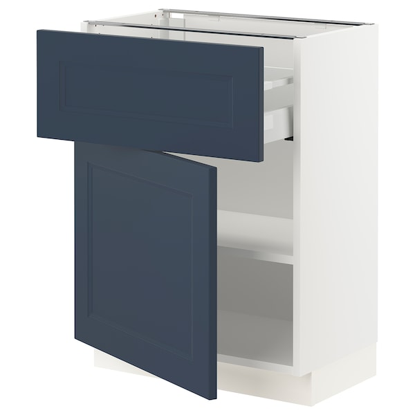 SEKTION / MAXIMERA Base cabinet with drawer/door, white Axstad/matte blue, 24x15x30 ""