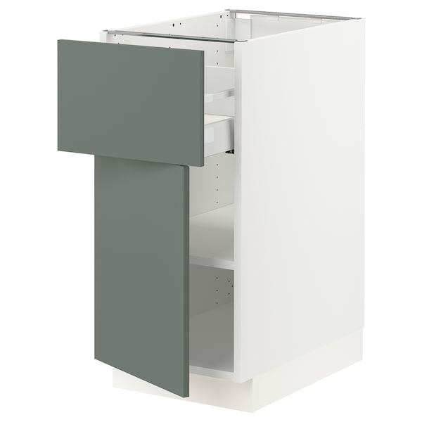 "SEKTION / MAXIMERA Base cabinet with drawer/door, white/Bodarp gray-green, 15x24x30 """