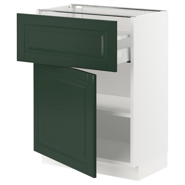 "SEKTION / MAXIMERA Base cabinet with drawer/door, white/Bodbyn dark green, 24x15x30 """