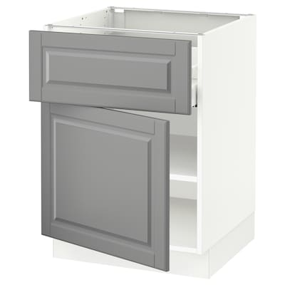 """SEKTION / MAXIMERA Base cabinet with drawer/door, white/Bodbyn gray, 24x24x30 """""""