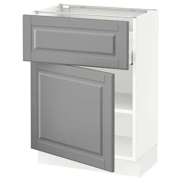 """SEKTION / MAXIMERA Base cabinet with drawer/door, white/Bodbyn gray, 24x15x30 """""""