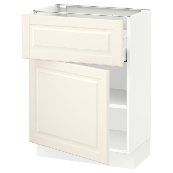 """SEKTION / MAXIMERA Base cabinet with drawer/door, white/Bodbyn off-white, 24x15x30 """""""