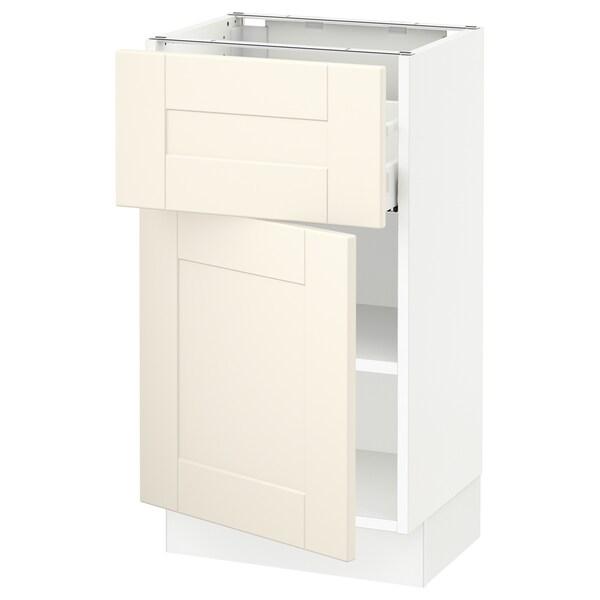"SEKTION / MAXIMERA Base cabinet with drawer/door, white/Grimslöv off-white, 18x15x30 """