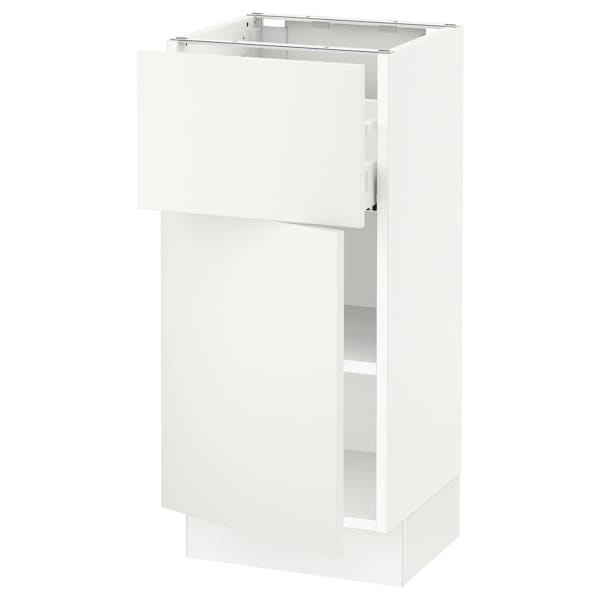 SEKTION / MAXIMERA Base cabinet with drawer/door, white/Häggeby white, 15x15x30 ""