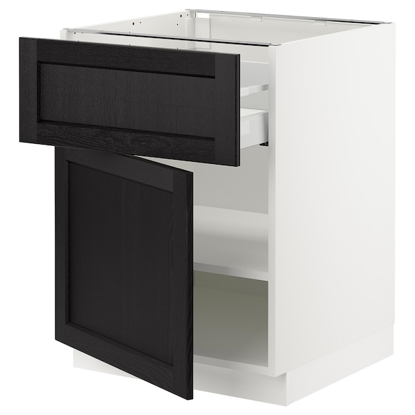 SEKTION / MAXIMERA Base cabinet with drawer/door, white/Lerhyttan black stained, 24x24x30 ""