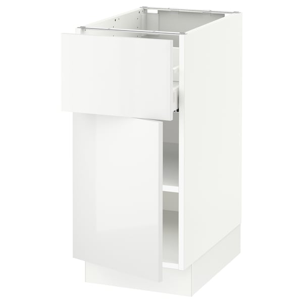 """SEKTION / MAXIMERA Base cabinet with drawer/door, white/Ringhult white, 15x24x30 """""""