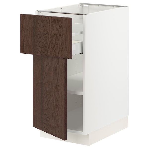 "SEKTION / MAXIMERA Base cabinet with drawer/door, white/Sinarp brown, 15x24x30 """
