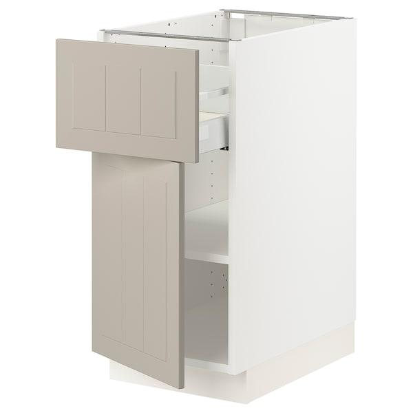 """SEKTION / MAXIMERA Base cabinet with drawer/door, white/Stensund beige, 15x24x30 """""""