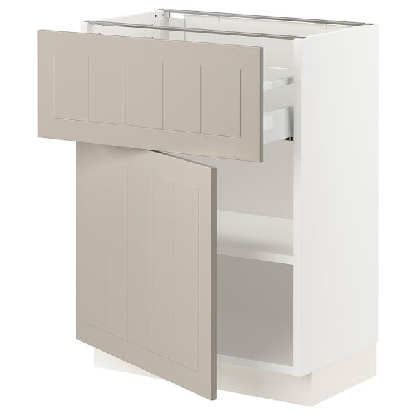 """SEKTION / MAXIMERA Base cabinet with drawer/door, white/Stensund beige, 24x15x30 """""""