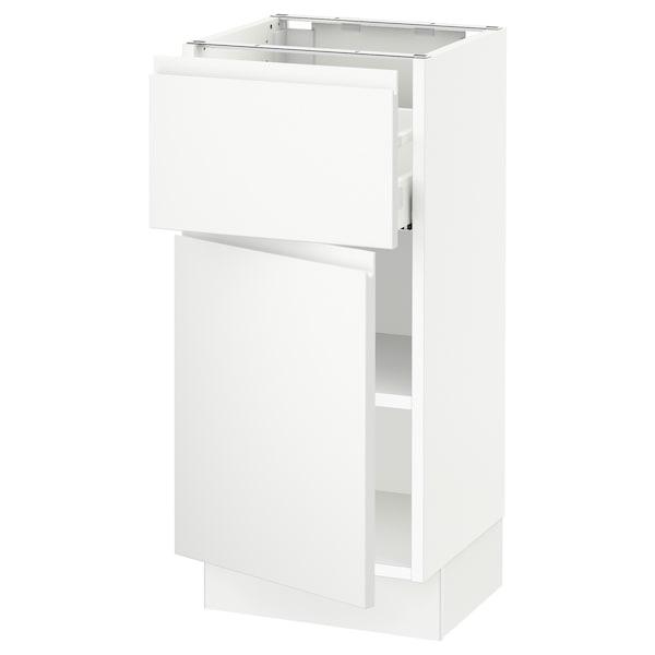 """SEKTION / MAXIMERA Base cabinet with drawer/door, white/Voxtorp matt white, 15x15x30 """""""