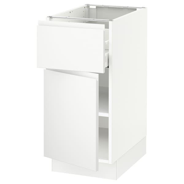 """SEKTION / MAXIMERA Base cabinet with drawer/door, white/Voxtorp matt white, 15x24x30 """""""