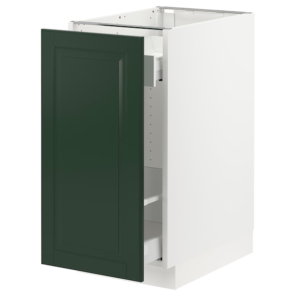 """SEKTION / MAXIMERA base cabinet with pull-out storage white/Bodbyn dark green 15 """" 24 """" 24 3/4 """" 30 """""""