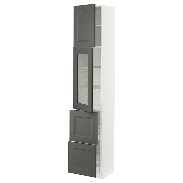 SEKTION / MAXIMERA Hi cab w/glass door/2 drawers/1door, white/Axstad dark gray, 15x15x80 ""