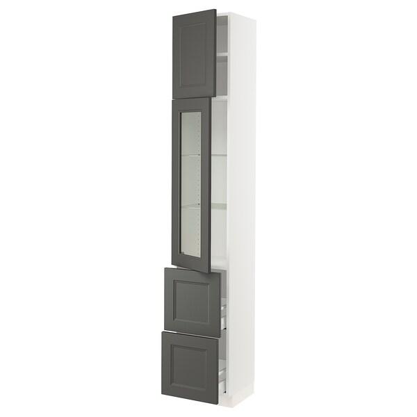 "SEKTION / MAXIMERA Hi cab w/glass door/2 drawers/1door, white/Axstad dark gray, 15x15x90 """