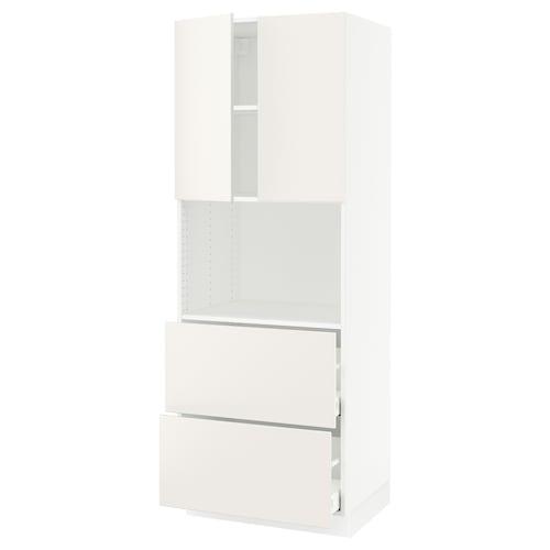 "SEKTION / MAXIMERA hi cb f micro w 2 drawers/2 doors white/Veddinge white 30 "" 24 "" 24 3/4 "" 80 """