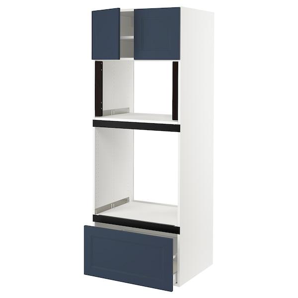 "SEKTION / MAXIMERA Hi cb f oven/micro w drawer/2 doors, white Axstad/matte blue, 30x24x80 """