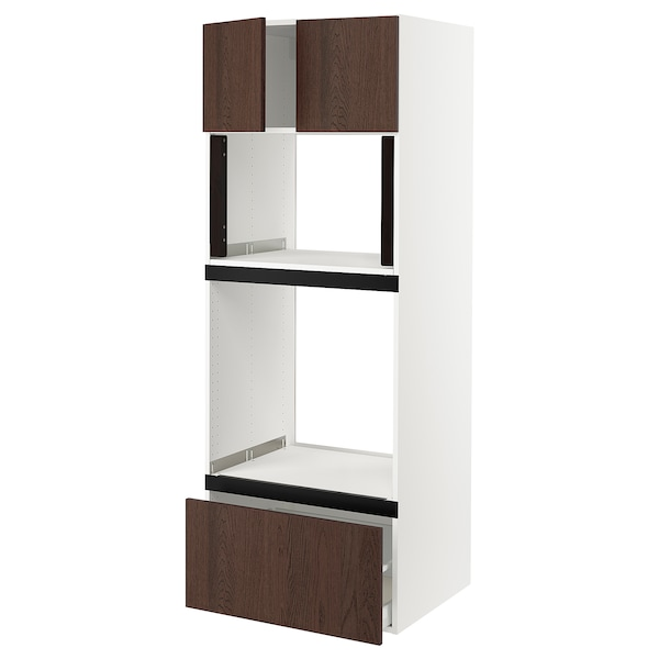 "SEKTION / MAXIMERA Hi cb f oven/micro w drawer/2 doors, white/Sinarp brown, 30x24x80 """