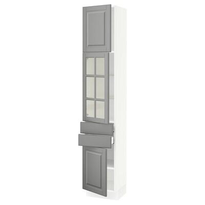 "SEKTION / MAXIMERA hi cb w glass dr/2 drwrs/2 doors white/Bodbyn gray 15 "" 15 "" 15 1/2 "" 80 """