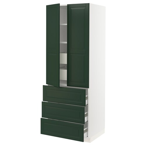 "SEKTION / MAXIMERA high cab w 2 drs/3 fronts/5 drawers white/Bodbyn dark green 30 "" 24 "" 24 3/4 "" 80 """