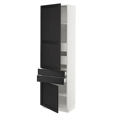 """SEKTION / MAXIMERA High cab w 2drs/2 fronts/4 drawers, white/Lerhyttan black stained, 24x15x80 """""""