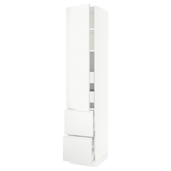 SEKTION / MAXIMERA High cab w door/2 fronts/4 drawers, white/Voxtorp matt white, 18x24x90 ""