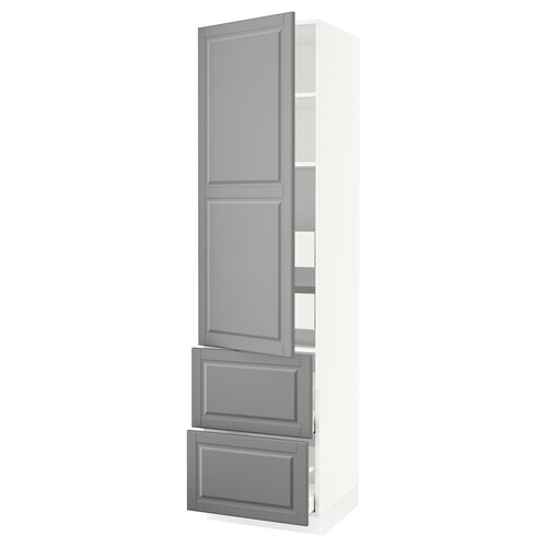 "SEKTION / MAXIMERA high cab w door/2 fronts/4 drawers white/Bodbyn gray 24 "" 24 "" 24 3/4 "" 90 """