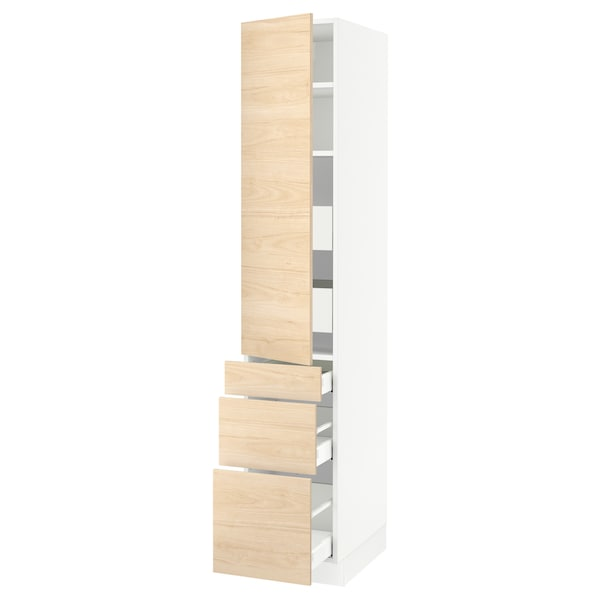 """SEKTION / MAXIMERA High cab w door/3 fronts/5 drawers, white/Askersund light ash effect, 15x24x80 """""""